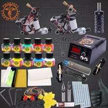 Professional Tattoo Kit Body Tattoo Art 2 Tatto Gun Machine with Grips Needles 10 Color Ink LCD Black Power Units Body Art Sets