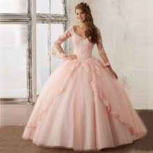 Pink Baby Blue Quinceanera Dresses Lace Long Sleeve Masquerade Ball Dresses Vestidos de 15 anos princesa Dressy Dress For Girls