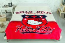 Hello Kitty Print Blankets Throw Bedding 150*200CM Size Baby Girl Children's Bed Home Bedroom Decoration Flannel Red Beige Color