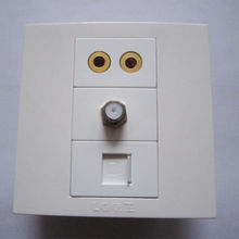 Free Shipment White Color Wall Panel Speaker Plug + Digital TV + RJ45 Internet Socket Durable For House Office Using