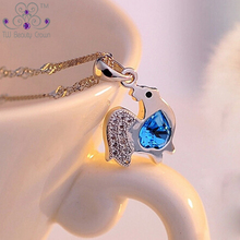 Real 925 Pure Silver Little Chick Cock Ocean Blue Heart Crystal Pendant Necklaces For Women Girls Children Jewelry
