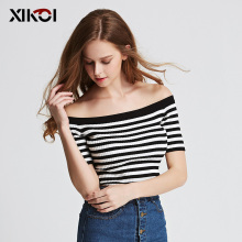 XIKOI 2017 New Summer Women Sweaters Clothing Striped Slash Neck Pullovers Flat Knitted Casual Fashion Women Pullover Sweater