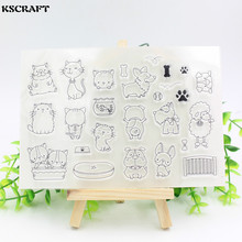 KSCRAFT Dog and Cat Family Clear Silicone Stamp for DIY scrapbooking/photo album Decorative craft