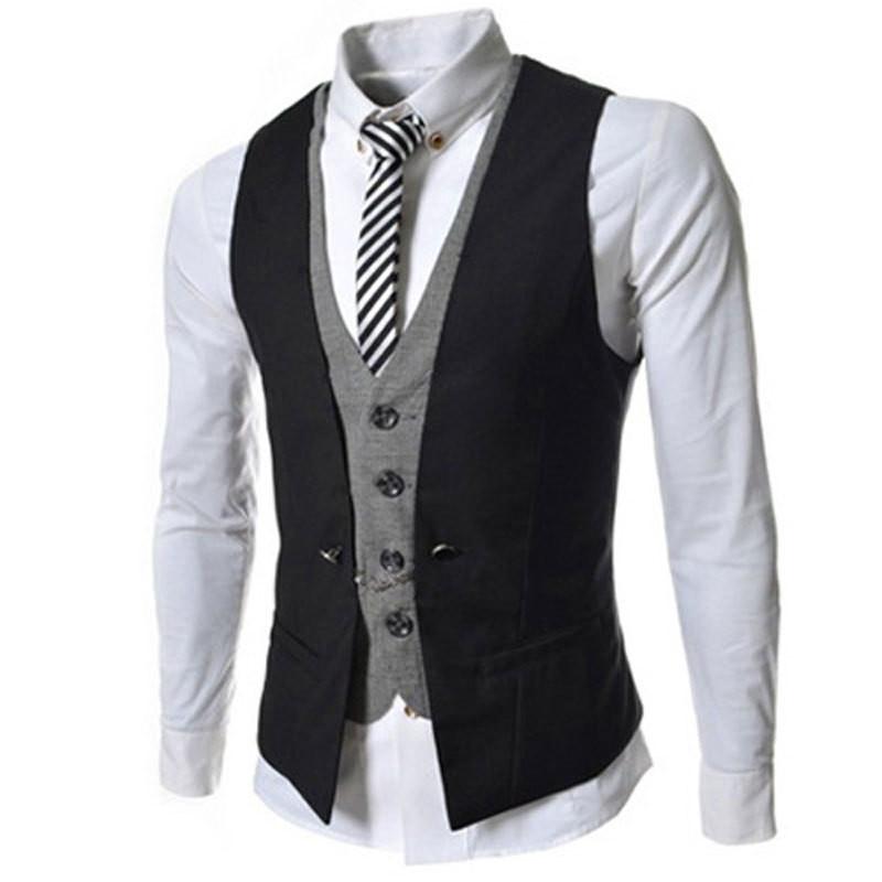 2 New Arrival Men Vest Spring Autumn Fashion Fake Two-Pieces Suit Vest Brand Black White Red Hit Color Waistcoat Men