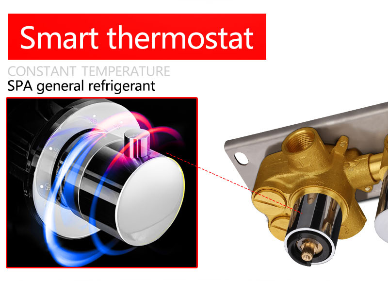 hm 2 Functional Channels High Flow 70L Temperature Thermostatic Controller Water Mixer Bath Shower Brass Chrome Mixer Finishing (16)