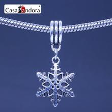 CasaPandora Silver-colored Christmas Snowflake Shape Pendant Fit Bracelet Charm DIY Bead Jewelry Making Pingente Berloque(China)