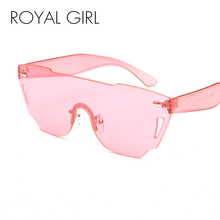 ROYAL GIRL Rimless Sunglasses Women Acetate Candy tinting UV 400 Glasses ss043(China)