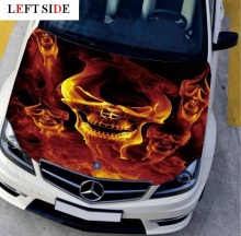 LEFT SIDE Car Stickers and Decals Head 5 Fire Skull Decal Styling Carbon Vinyl Cover Waterproof HD