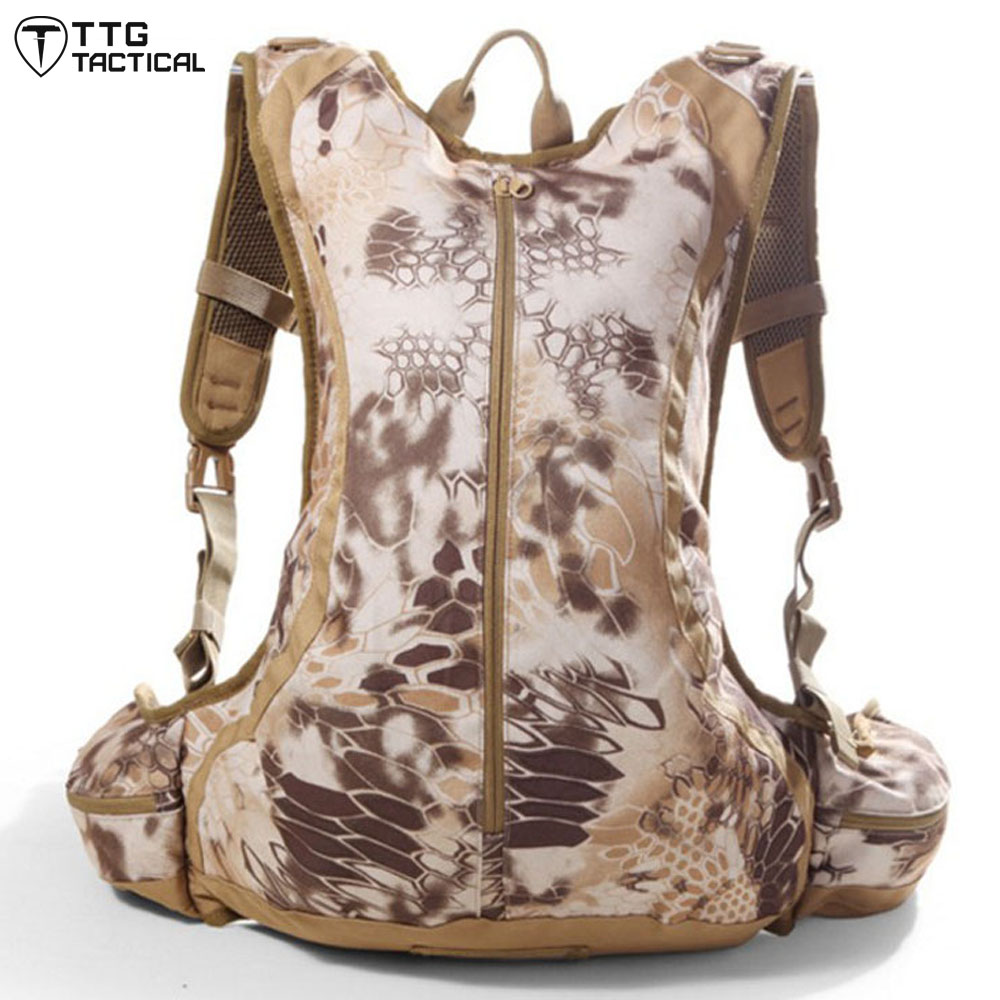 TTGTACTICAL Portable Python Pattern Backpack Water Repellent Camouflage Combat Backpack Utility Water Bladder Backpack<br>
