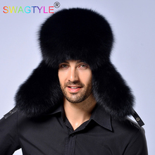 Fox Mink Fur Hat Man Fashion Warm Bomber Hats Practical Button Design Male Brand Quality Bonnets Cap Winter Warm Elegant Dignity(China)