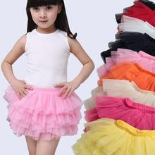 Fashion Girls Tutu Skirts Baby Ballerina Skirt Childrens Chiffon Fluffy Kids Casual Candy Color(China)