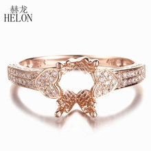HELON 7x9mm Oval or 6x8mm Emerald Semi Mount Engagement Diamonds Ring Solid 10K Rose Gold Pave 0.45ct Natural Diamond Fine Ring(China)