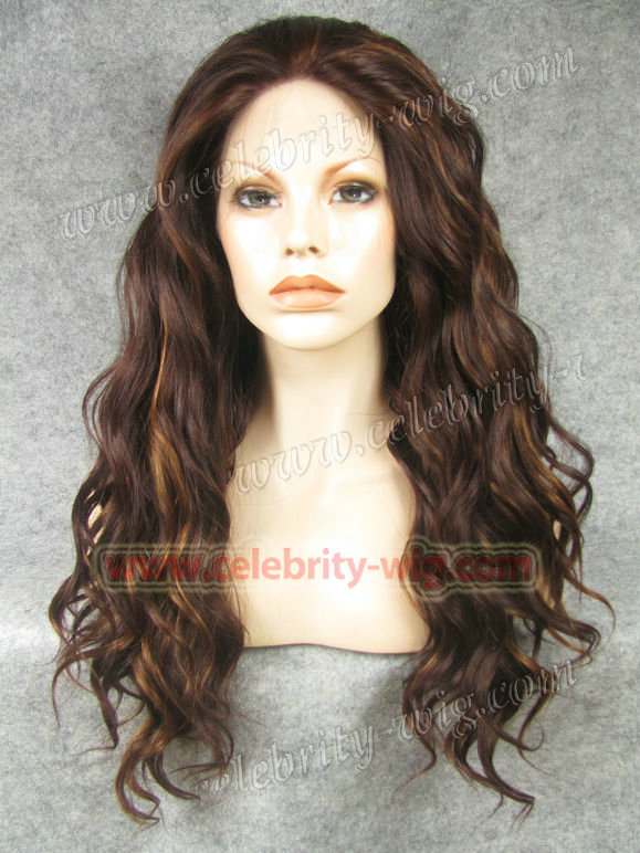 Celebrity Top Fashion long style Wave Heat resistant Wig Red brown Highlight synthetic lace front wig<br><br>Aliexpress