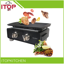 ITOP BP-02 Plancha Gas BBQ Grill Steak Cooker Stainless Steel Two Burners Outdoor Barbecue Stove(China)