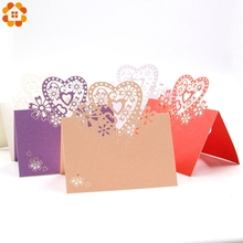 20PCS/Lot Laser Cut Lovely Heart Shape Table Name Card/Place Card For Home Wedding Party Decoration Event & Party Supplies(China)