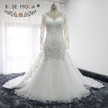 Buy Rose Moda V Neck Long Sleeves Lace Mermaid Wedding Dress Removable Train Illusion Back Muslim Wedding Gown for $429.00 in AliExpress store