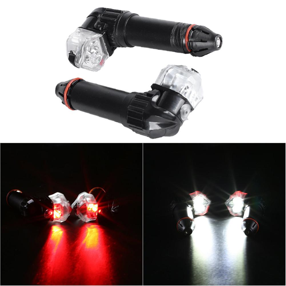 BICYCLE HANDLEBAR END LIGHTS ROAD RED LED PLUGS 2 MODES ROAD MTB CYCLING NEW!