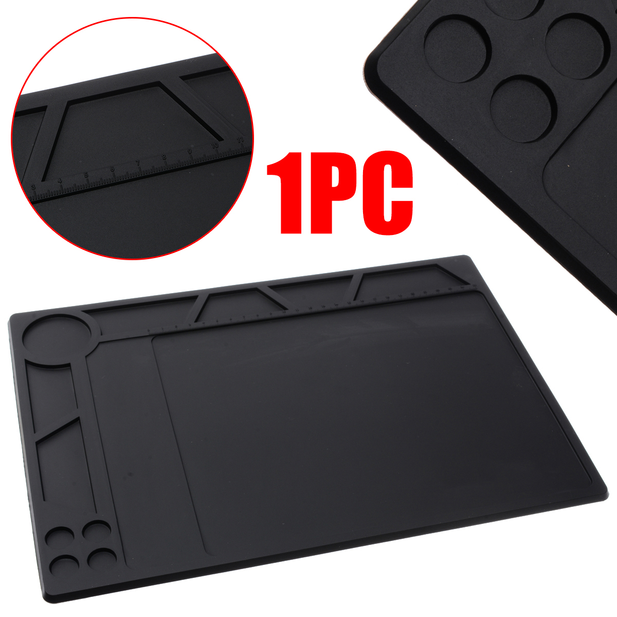 1Pcs Silicone Black Anti Static ESD Heat Insulation Pad Mat Blanket Phone PC Tablet Repair For Welding Equipment 359c260x5mm