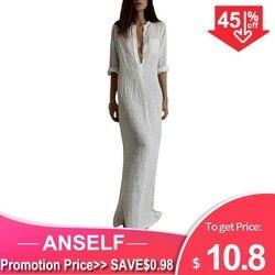 Женское длинное пляжное платье с V-образным вырезом, с длинным рукавом