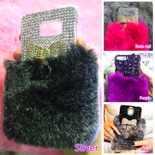 Fluffy Fur Mobel phone bag for iphone 6 case Sparkly Golden Bow Black Diamond Case For iPhone 7/ 7 Plus/6S Plus/5S/SE/5C/6S/4S