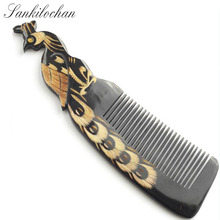 Peacock design Natural Buffalo horn Comb for hair massage Wide Tooth anti-static head Massage Hair Brush combs hairbrush(China)