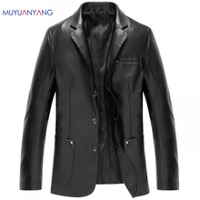 Fashion Men's Leather Jackets And Coats Suit Collar Leather Jackets Men Slim Clothing Soft Faux Leather Clothes For Man(China)