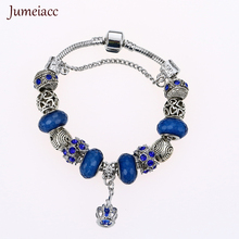 Jumeiacc 2017 Silver Charms Blue Royal Crown Bracelet & Bangles With Queen Crystal Ball White Beads Bracelet for Women Gifts(China)