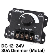 LED Dimmer DC12-24V 8A 30A 96W 360W Adjustable Brightness Lamp Strip Driver Single Color Light Power Supply Controller 5050 3528