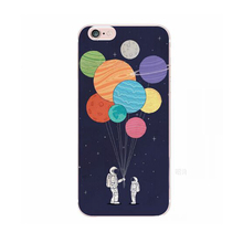 2017 Fashion cartoon cute space satellite science fiction star astronaut moon earth balloons soft tpu cell phone case For Iphone(China)