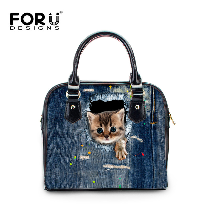 FORUDESIGNS Denim 3D Cat Women Bags Animal Prints Woman Casual Handbags Bolsa Feminina Messenger Bags For Ladies Feminine Tote<br>