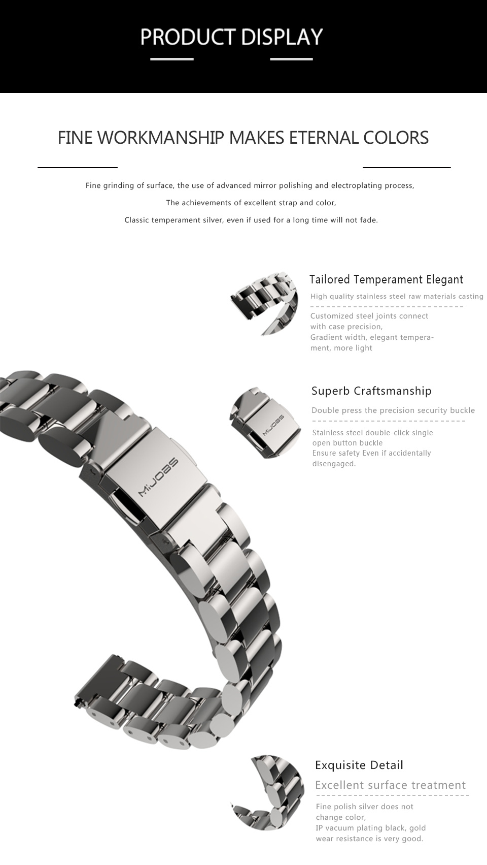 Original Stainless Steel Metal Plus Fitbit Free tool Xiaomi miband 2 Smart Bracelet Replacement Fitness Tracker mi Accessories 7