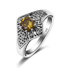 Szjinao Love Couples Jewelry Palace Popular Vintage 925 Sterling Silver Citrine Stone Ring Women Retro Jewellery