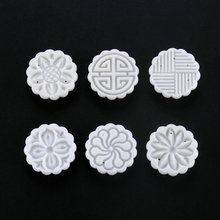 AMW 25g 6pcs Round Shape Flowers Moon Cake Mold Hand Pressure Chinese Fondant Plunger Cutter Set Kitchen Tools