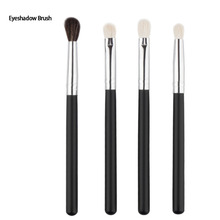 4pcs/set Wool Hair Eyeshadow Makeup Brush Set Silverblack Eye Shadow Eyeliner Eyebrow Brushing Brush Kits Beauty Makup Tools