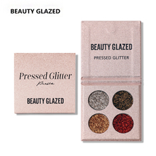 BEAUTY GLAZED Luminous Eye Shadow Easy To Wear Glitter Eyeshadows Natural Matte Shimmer Natural Makeup Palette 4 Colors In 1