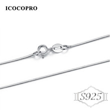 ICOCOPRO S925 Sterling Silver Jewelry Link Chains Necklaces For Women Men Pendant Charm Trendy Snake Blade Box Chains Necklace
