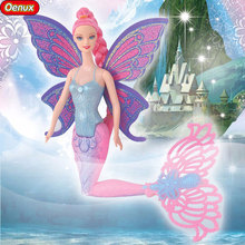 Oenux 16 Inch Classic Mermaid Doll With Wings Genuine Fashion Moxie Girls Mermaid Dolls Princess Doll For Girls Birthday Gifts