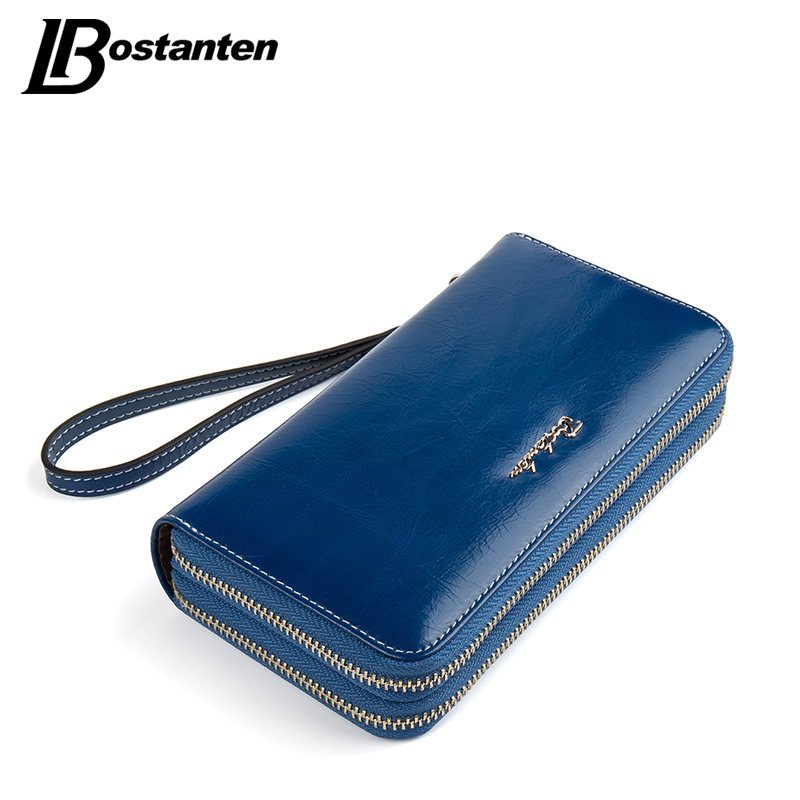 BOSTANTEN Cow Genuine Leather Women Wallet Long Double Zipper Purse Luxury Brand Coin Wallet female Designer Money Bag Wristlet<br><br>Aliexpress