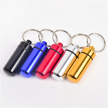 1 PCS Small Metal Container Aluminum Pill Box Holder Keychain Outdoor Portable Medicine Packing Tools Wholesale