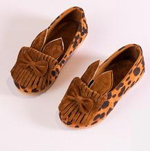 New kids shoes girls shoes fashion tassel leopard pu leather single shoes kids cute bow-knot rabbit ear girls dress shoes kids(China)