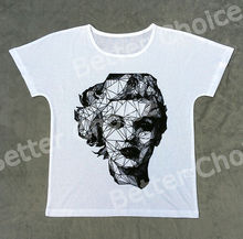 Track Ship+New Vintage Retro T-shirt Top Tee Line Drawing Smile Simple Actress Marilyn Monroe 0757