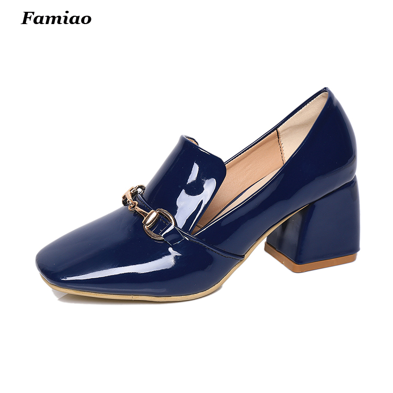 women Pumps patent leather office lady work shoes square heel pump woman formal dress comfort mother shoe<br><br>Aliexpress