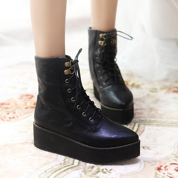2014 autumn winter lace up Wedge heel short martin boots thick platform ankle boots women outdoor shoes on sale free shipping<br><br>Aliexpress