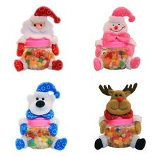Curte Santa Snowman Elk Bear Candy Jar Kids Christmas Gifts Plastic Round Candy Jar For Children Kids Xmas Gifts Decor #1026(China)