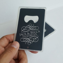 Engraved Credit Card Bottle Opener with Box Personalized Wedding Souvenir Party Favor Unique Wedding Guest Gift in Black 100pcs(China)