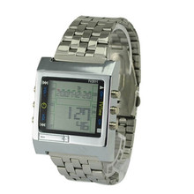 New Rectangle TVG Remote Control Digital Sport watch Alarm TV DVD remote Men and Ladies Stainless Steel WristWatch