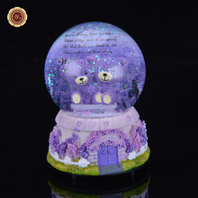 WR Rare Gift Exquisite Glass Music Box Purple Bear Round Snow Music Box Forever Love Creative Unique Decor Christmas Gift