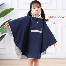 Raincoats Poncho Girls Kids Comfortable Waterproof Hat Eaves-Design High-Quality