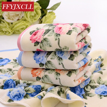 4pcs/lot 34*76cm 110g 100%cotton face Towel 3 color Peony Floral Bath Towel Sports Towel Gym Camping Towel Fast Drying Cloth(China)