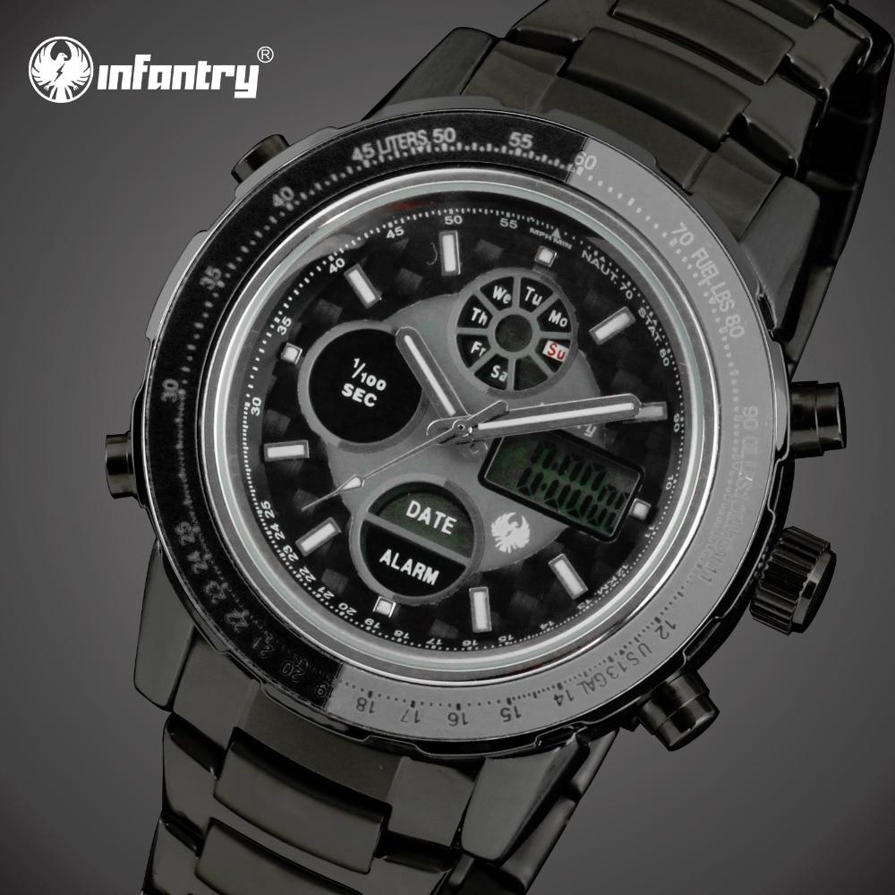 INFANTRY Men Watch Chronograph Sport Watch Mens Quartz Watches Stainless Steel Analog Digital Watches Relogio Masculino 2017<br><br>Aliexpress